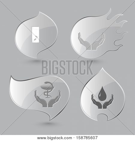 4 images: glass with tablets, human hands, pharma symbol in hands, protection blood. Medical set. Glass buttons on gray background. Fire theme. Vector icons.