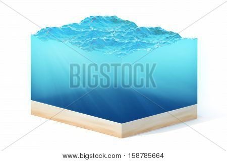 3d rendering of section of clean ocean water with bottom under water, isolated on white background