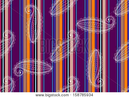 Seamless striped pattern with translucent white lace paisley vector eps10