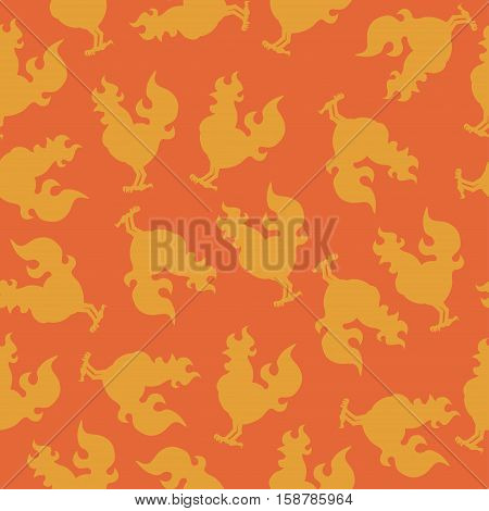 seamless pattern with a cock silhouette or rooster fire for the new year.