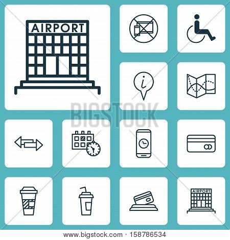 Set Of Airport Icons On Forbidden Mobile, Airport Construction And Crossroad Topics. Editable Vector Illustration. Includes Info, Construction, Calendar And More Vector Icons.