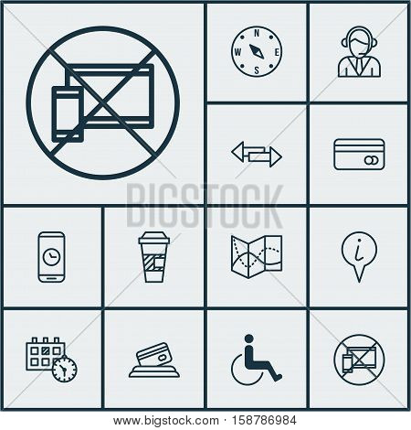 Set Of Traveling Icons On Forbidden Mobile, Credit Card And Locate Topics. Editable Vector Illustration. Includes Paralyzed, Accessibility, Coffee And More Vector Icons.