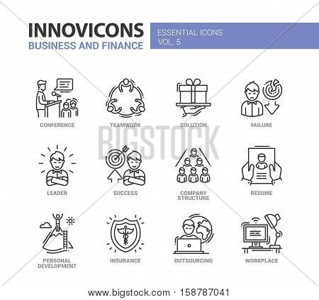 Busness and Fnance - modern vector thin line flat design icons and pictograms set. Teamwork, solution, failure, success, company structure, resume, insurance, outsourcing, work place, conference, leader personal development