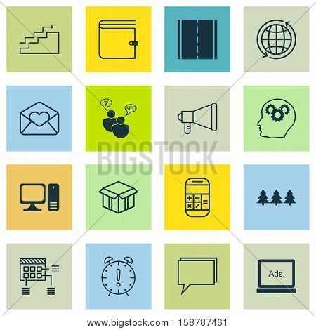 Set Of 16 Universal Editable Icons. Can Be Used For Web, Mobile And App Design. Includes Icons Such As World, Digital Media, Photo Camera And More.