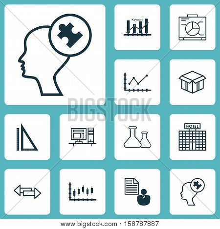 Set Of 12 Universal Editable Icons. Can Be Used For Web, Mobile And App Design. Includes Icons Such As Human Mind, Changes Graph, Stock Market And More.