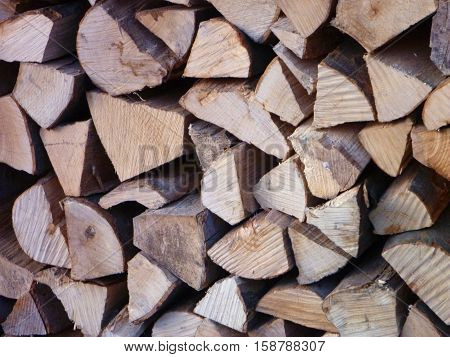 Stocked Wood For Burning In A Fireplace