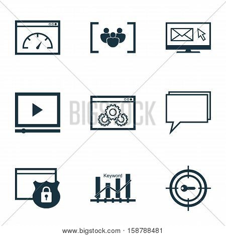 Set Of Marketing Icons On Keyword Marketing, Video Player And Questionnaire Topics. Editable Vector Illustration. Includes Optimization, Ranking, Email And More Vector Icons.