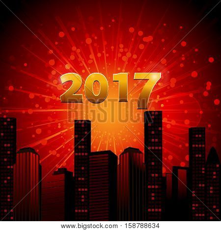 Red Abstract City Scape with Star Burst and 2017 in Numbers Background