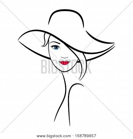 Woman in hat, contour drawing. Vector design for any decoration. Creative concept.