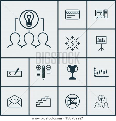 Set Of 12 Universal Editable Icons. Can Be Used For Web, Mobile And App Design. Includes Icons Such As Collaborative Solution, Forbidden Mobile, Decision Making And More.