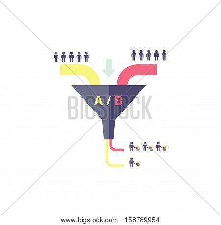 Sales funnel optimization work. Testing in internet marketing - business concept. AB test - vector illustration.