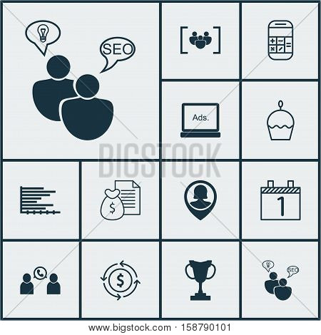 Set Of 12 Universal Editable Icons. Can Be Used For Web, Mobile And App Design. Includes Icons Such As Calculation, Agenda, Questionnaire And More.