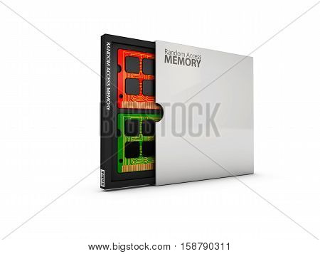 Illustration Of Box With Computer Random Access Memory Ram Chips.