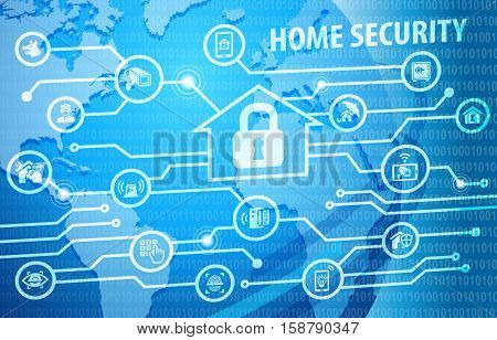 Home Security Protection Background with various icons