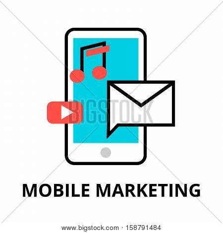 Modern flat thin line design vector illustration concept of mobile marketing internet marketing idea and new market trends analysis for graphic and web design