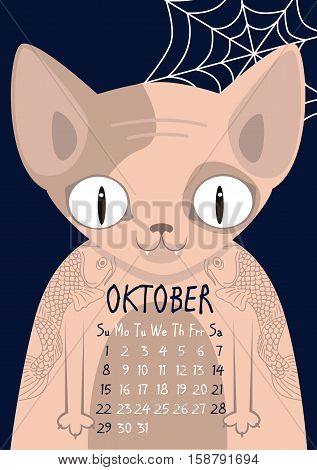 Sphynx cat with tattoos in Vila fish on a dark background with spider webs. Bald cat. Oktober calendar