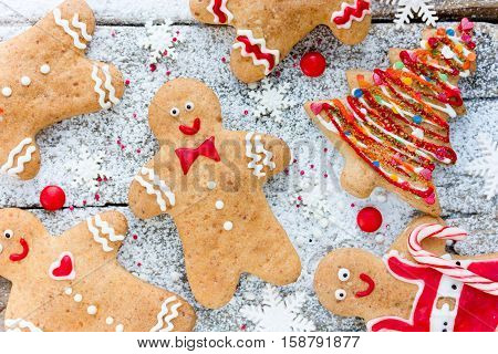 Christmas homemade gingerbread cookies decorated icing - winter holiday gift for kids