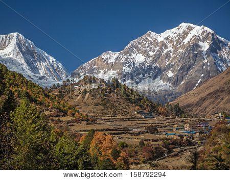 Nepali village in Hymalayas mountains.  Manaslu curciut trek, Nepal