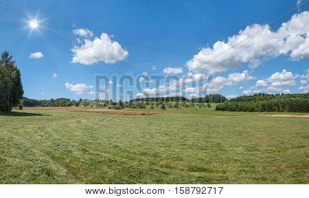 Mown meadow in rural landscape in summer with sun in the blue and white sky