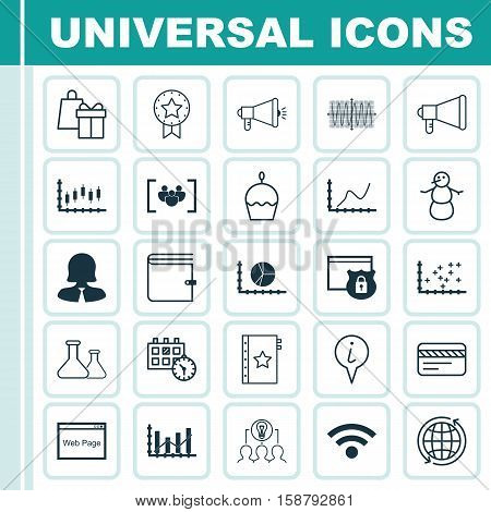 Set Of 25 Universal Editable Icons. Can Be Used For Web, Mobile And App Design. Includes Icons Such As Bank Card, Winter, Plot Diagram And More.