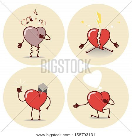 Heart cartoon icon. Heart attack a declaration of love education a broken heart. Vector