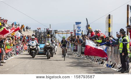 Mont Ventoux France- July 14 2013: The Colombian cyclist Nairo Alexander Quintana Rojas (Movistar Team) climbing the last kilometer of the ascension to Mont Ventoux during the stage 15 of the 100 edition of Le Tour de France 2013. Quintana finished this s