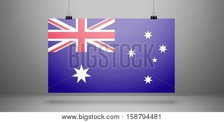 australia flag horizontal sheet of paper on the light grey background, mock-up illustration (poster, picture frame)