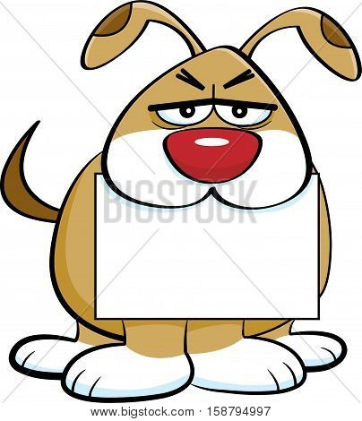 Cartoon illustration of an angry dog holding a sign in its mouth.