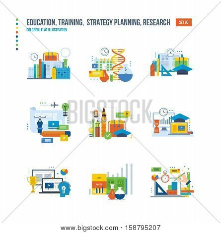 Modern education, research and analysis of studies, school of foreign languages, information technology, communications icons set over white background. Colorful flat illustrations.