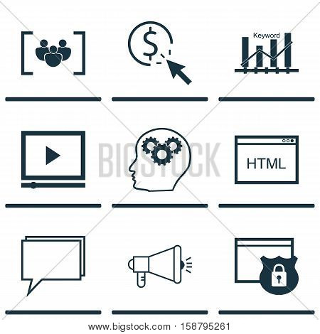 Set Of Marketing Icons On Conference, Brain Process And Keyword Optimisation Topics. Editable Vector Illustration. Includes Web, Digital, Website And More Vector Icons.