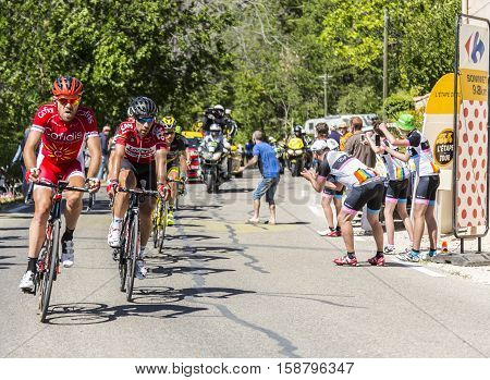 Mont Ventoux France - July 142016: The Belgian cyclist Thomas De Gendt of Team Lotto-Soudal riding in he leading groupon the road to Mont Ventoux during the stage 12 of Tour de France 2016. De Gendt won this stage.