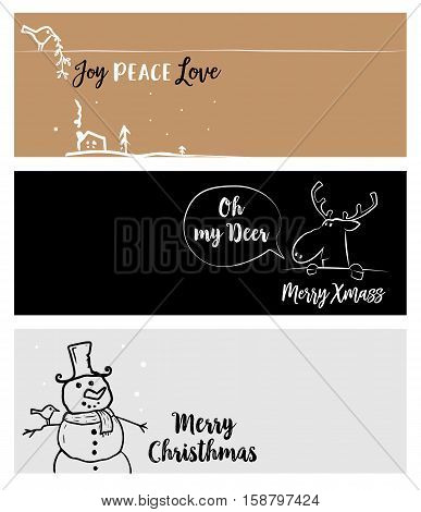 Set of Christmas and New Year social media banners. Vector illustrations for website and mobile banners, internet marketing, greeting cards and printed material design.