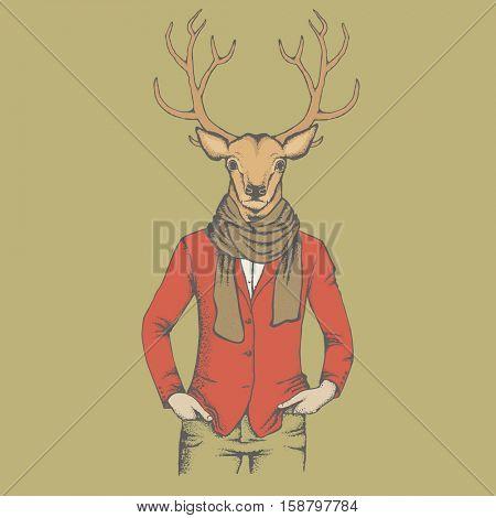 Deer vector illustration. Reindeer in human suit