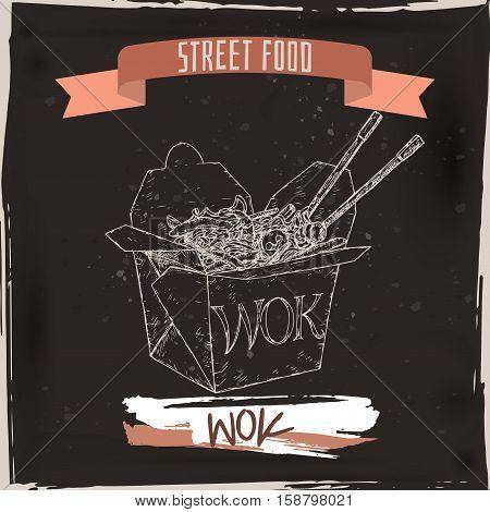 Wok noodles in a box sketch on grunge black background. Asian cuisine. Street food series. Great for market, restaurant, cafe, food label design.