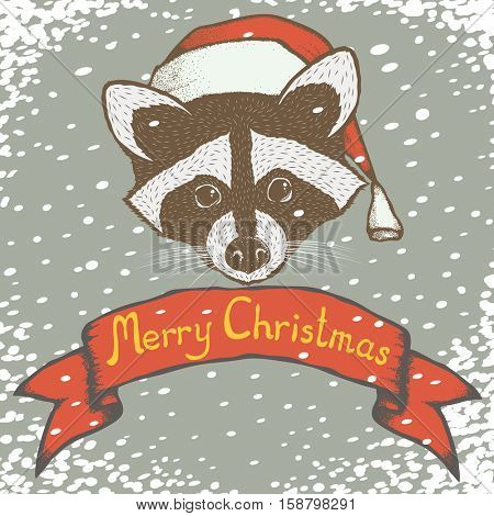 Christmas raccoon vector illustration. Raccoons head with santa hat. Inscription Merry Christmas and snow