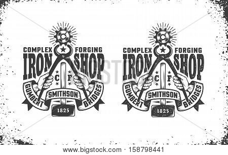 Smithy workshop logo in vintage retro style. Hands holding pliers gripping cogwheel forging hammer retro ribbon. Vector layered illustration. Easy to edit.