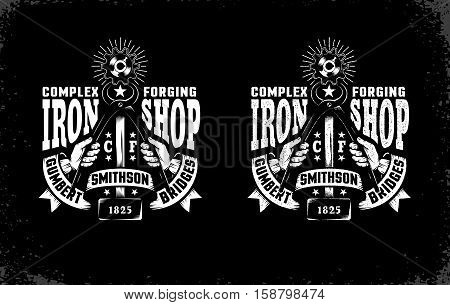 Smithy emblem with hammer tongs and vintage ribbon on a black background. Vector layered illustration. Easy to edit.