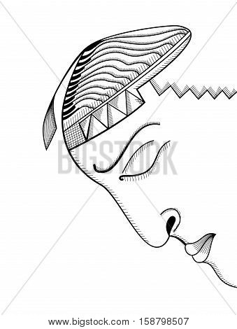 Hand drawing face. Abstract surreal vector template can use for posters cards stickers illustrations t-shirt art as decorative element.