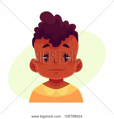 Little boy face, neutral facial expression, cartoon vector illustrations isolated on yellow background. black male kid emoji face feeling glad, serene, relaxed, delighted. Neutral face expression