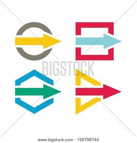 Communication concept - template with color arros set