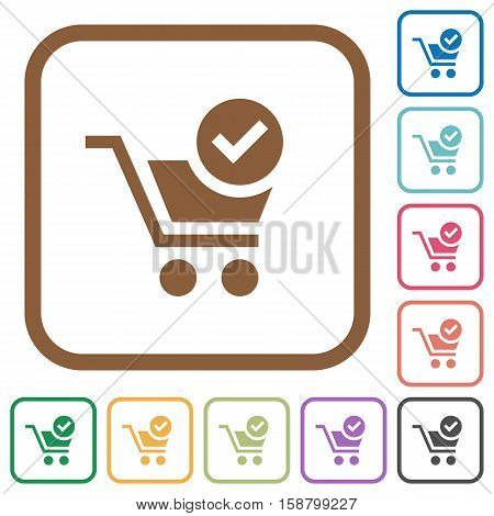 Checkout simple icons in color rounded square frames on white background