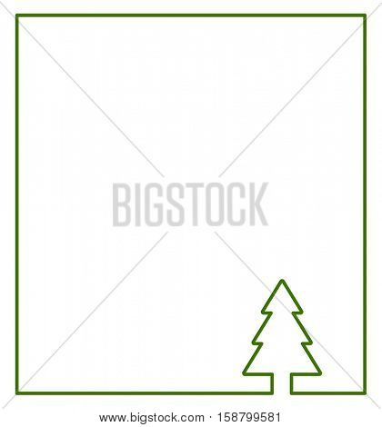 christmas tree frame icon - outline abstract background