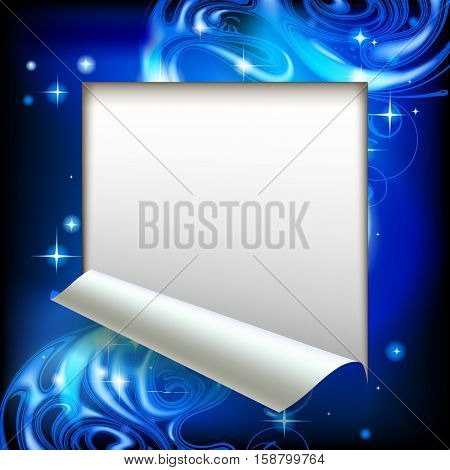 Paper sheet cut framed with a blue abstract luminous fantasy background