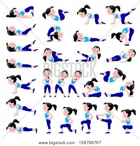 Cartoon girl in blue suit doing fitness exercises isolated on white background. Woman in different sport poses. Healthy and active life style icon set