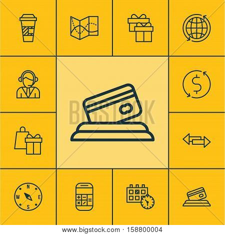 Set Of Travel Icons On Calculation, Credit Card And Road Map Topics. Editable Vector Illustration. Includes Call, Arrows, Travel And More Vector Icons.