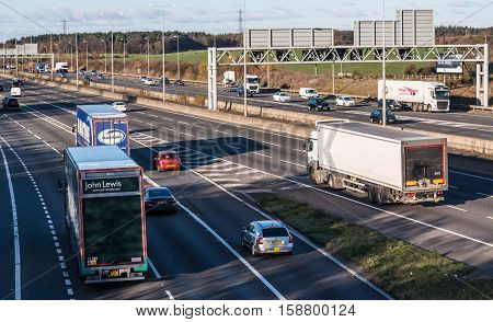 London, UK, 28 November 2016: Traffic on the British motorway M1