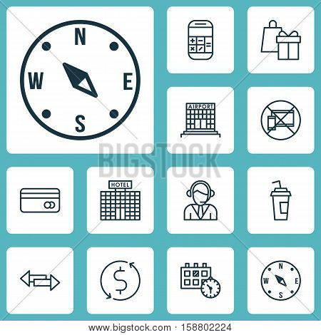 Set Of Travel Icons On Locate, Airport Construction And Operator Topics. Editable Vector Illustration. Includes Appointment, Direction, Debit And More Vector Icons.