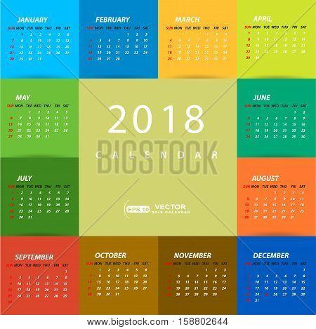 2018 multicolored calendar template design . 2018 calendar