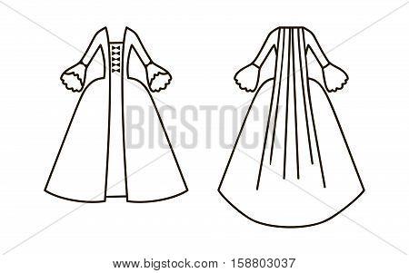 18 century dress icon isolated on white background.
