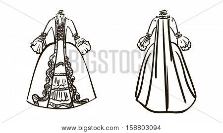 The sack-back gown or robe a la francaise watercolor sketch. 18 century dress isolated on white background. Hand drawn retro historical clothes.